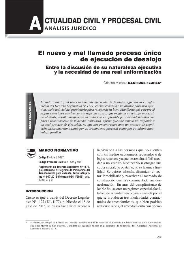 69 A CTUALIDAD CIVIL Y PROCESAL CIVIL  MARCO NORMATIVO Código Civil: art. 1697. Código Procesal Civil: arts. 585 y 594. ...