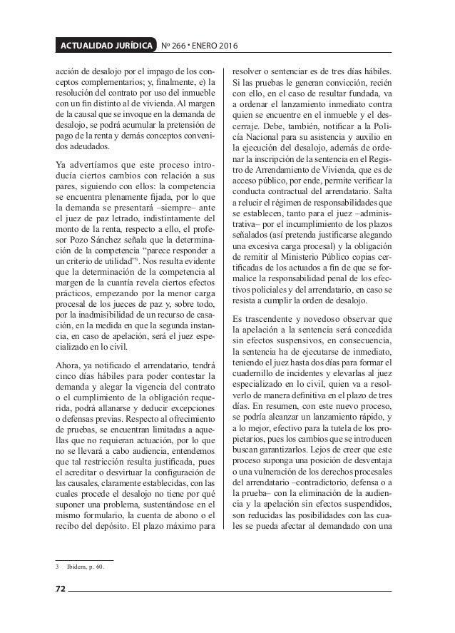 72 ACTUALIDAD JURÍDICA Nº 266 • ENERO 2016 acción de desalojo por el impago de los con- ceptos complementarios; y, finalmen...