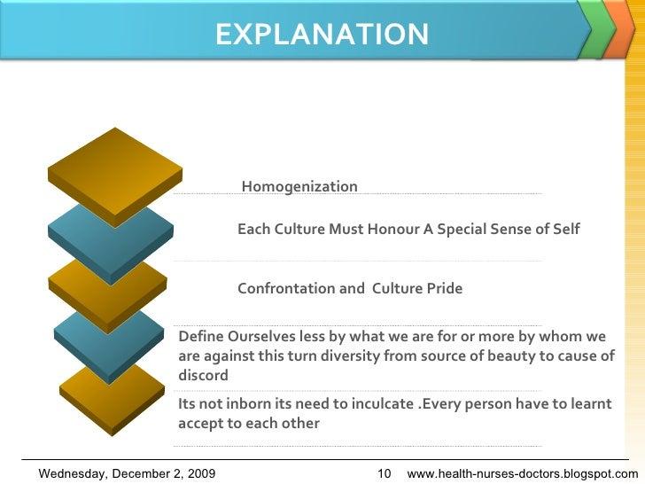 EXPLANATION www.health-nurses-doctors.blogspot.com Homogenization Each Culture Must Honour A Special Sense of Self Confron...