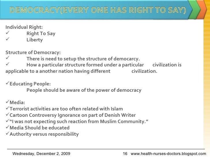 <ul><li>Individual Right: </li></ul><ul><li>Right To Say </li></ul><ul><li>Liberty </li></ul><ul><li>Structure of Democrac...