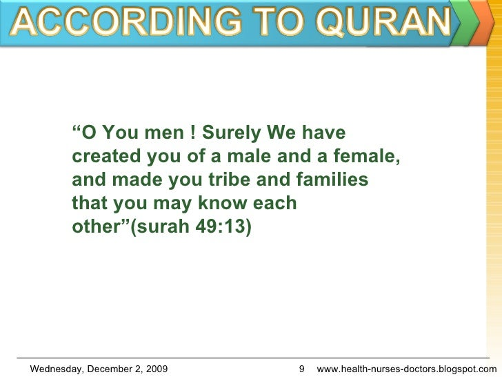 """"""" O You men ! Surely We have created you of a male and a female, and made you tribe and families that you may know each ot..."""