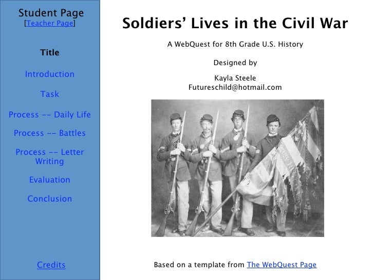 Soldiers' Lives in the Civil War Student Page Title Introduction Task Process -- Daily Life Evaluation Conclusion Credits ...