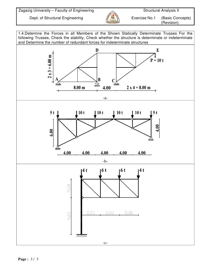 Zagazig University – Faculty of Engineering                            Structural Analysis II      Dept. of Structural Eng...