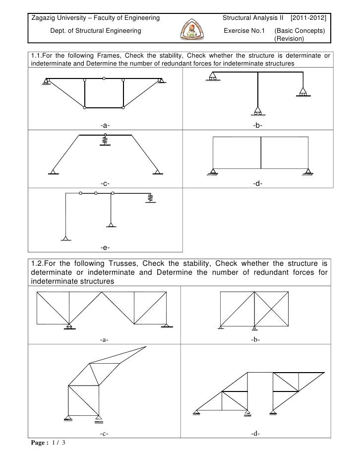 Zagazig University – Faculty of Engineering                  Structural Analysis II   [2011-2012]      Dept. of Structural...