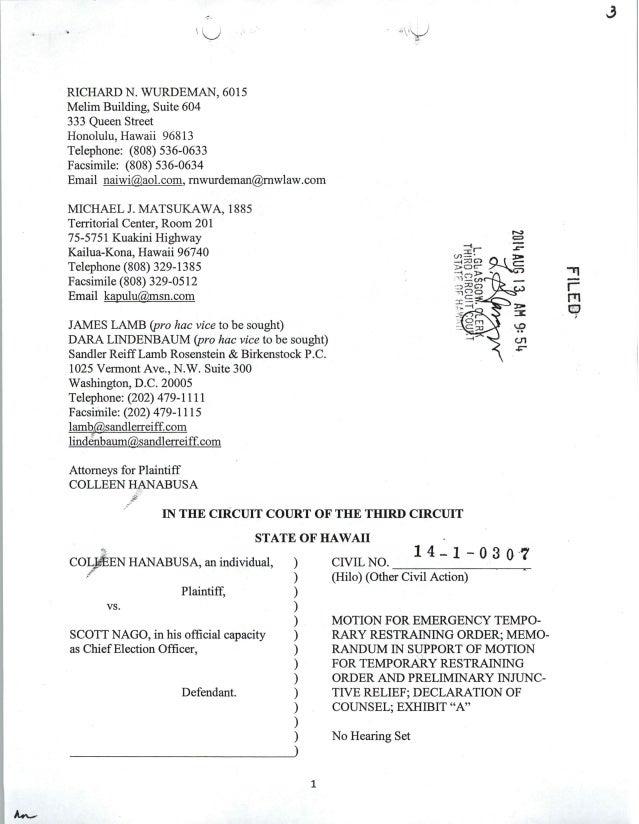 Hanabusa's Civil Motion for Temporary Restraining Order