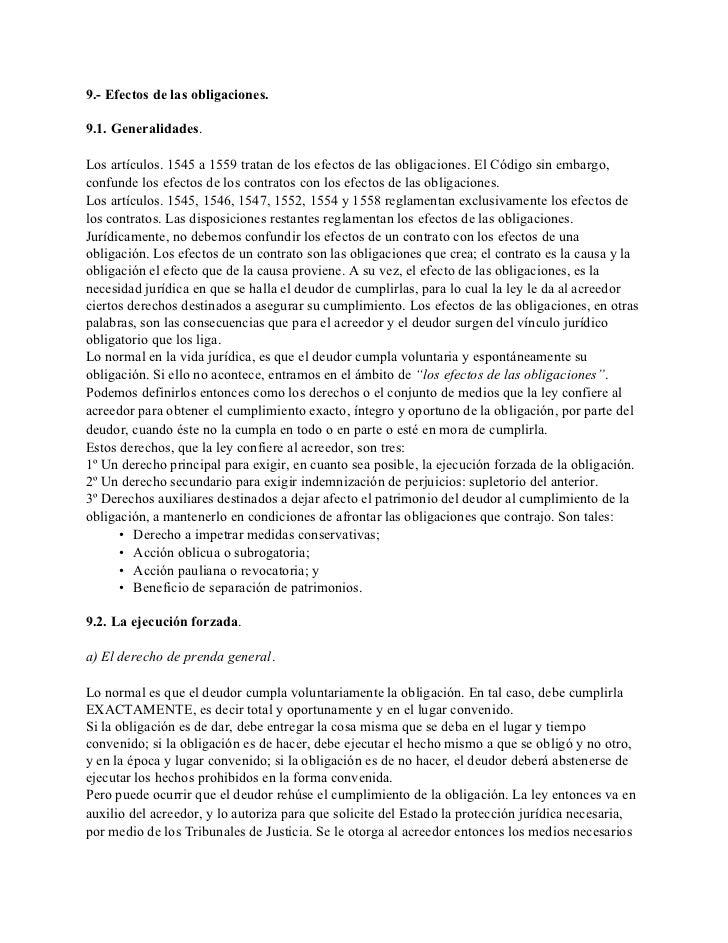 9.- Efectos de las obligaciones.  9.1. Generalidades.  Los artículos. 1545 a 1559 tratan de los efectos de las obligacione...