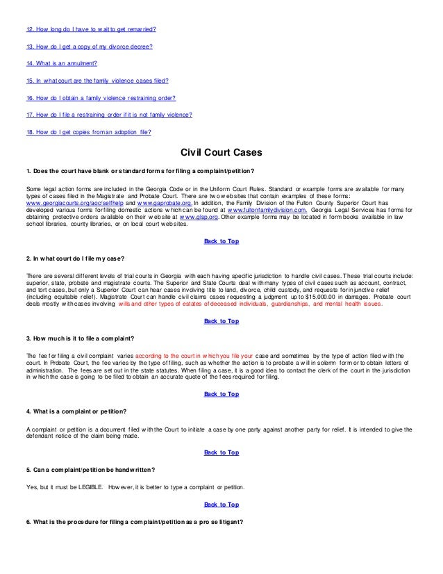 Civil Court Cases Superior Court