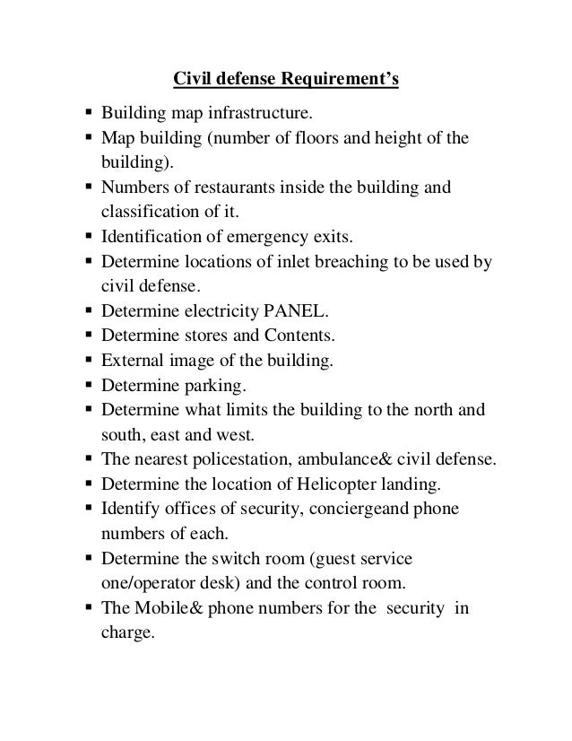 Civil defense Requirement's Building map infrastructure. Map building (number of floors and height of thebuilding). Num...