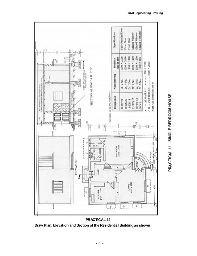 Civil Engineering Plan Elevation Section : Civil engineering drawing house plan