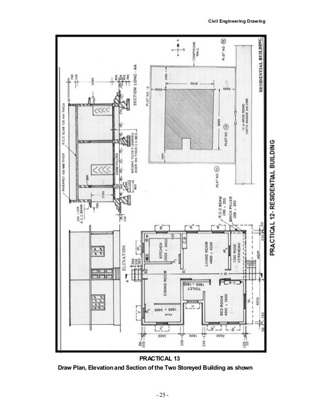 Civil Engineering Plan Elevation Section : Civil engineering residential building plans