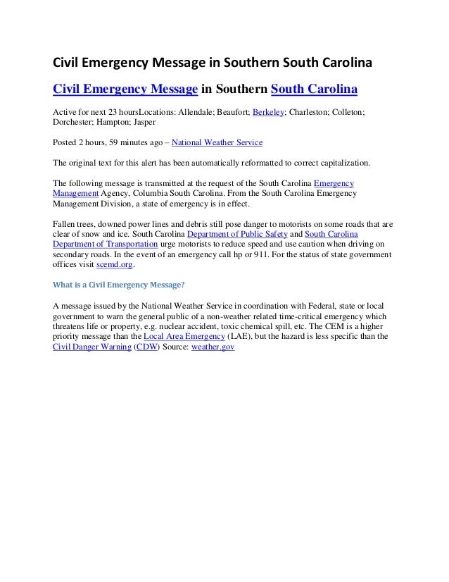 Civil emergency message in southern south carolina