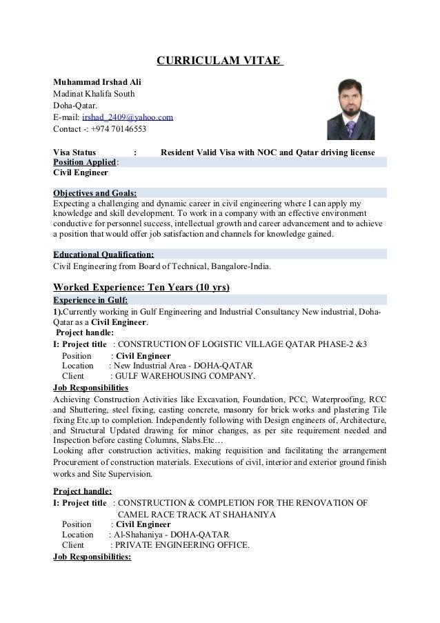 CURRICULAM VITAEMuhammad Irshad AliMadinat Khalifa SouthDoha-Qatar.E-mail: irshad_2409@yahoo.comContact -: +974 70146553Vi...