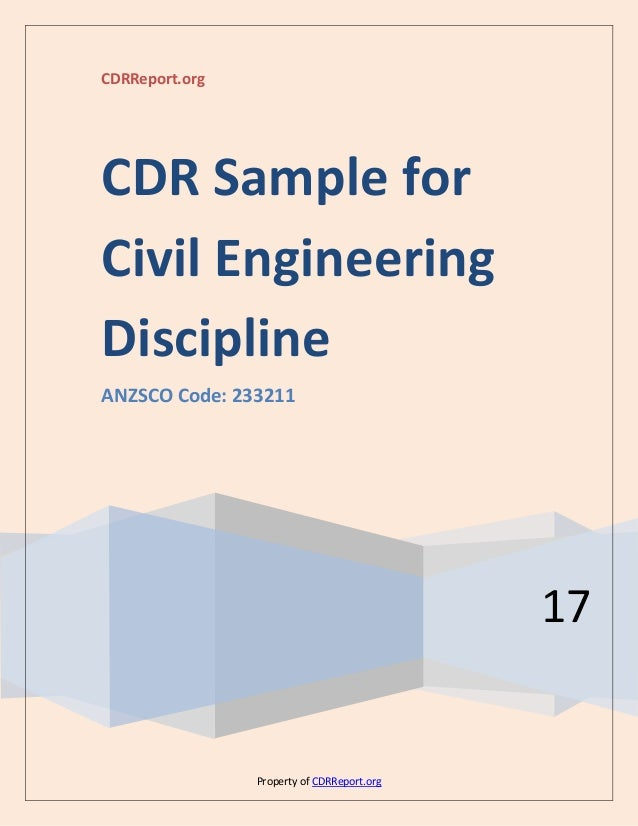 Civil engineering cdr sample (anzsco code: 233211).
