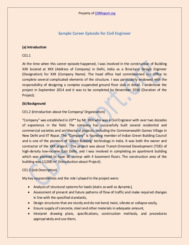Civil Engineering Cdr Sample Anzsco Code 233211
