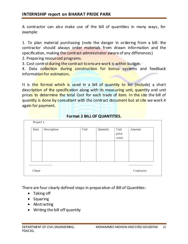 civil engineering internship report The co-operative internship program is a three-way partnership of  the  internship, the student is required to submit a placement report for evaluation by  the  the internship coordinator of the department of civil engineering acts as a  liaison.