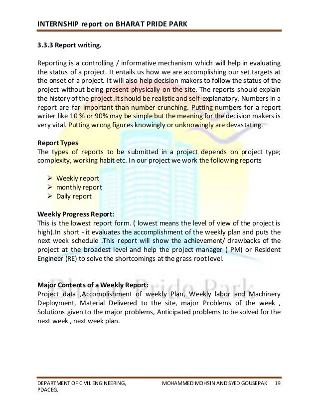 civil engineering internship report Eng450 – engineering internship brad smith – 30331929 8 of 70 22/04/2009 20 introduction 21 objectives the purpose of this report is to demonstrate that the intern actively participated and.
