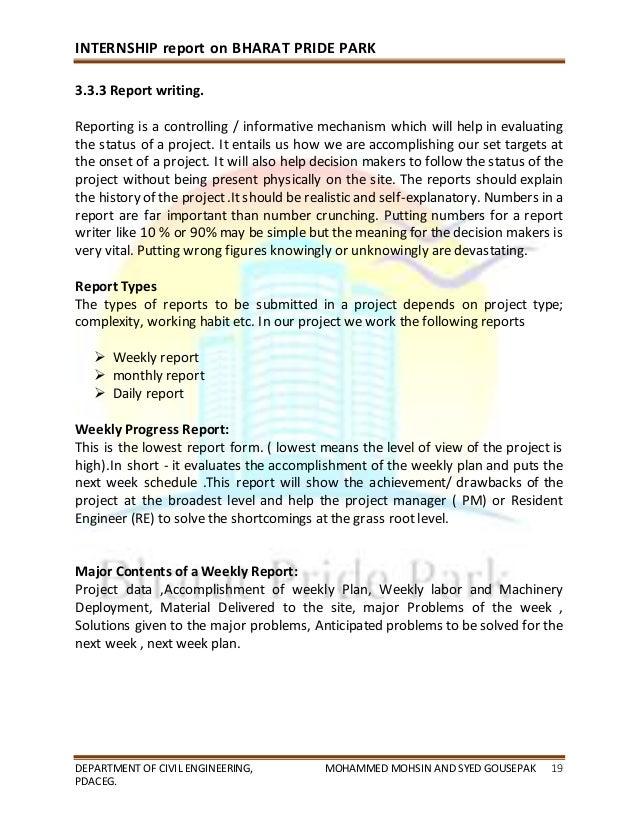 Civil engineering internship report