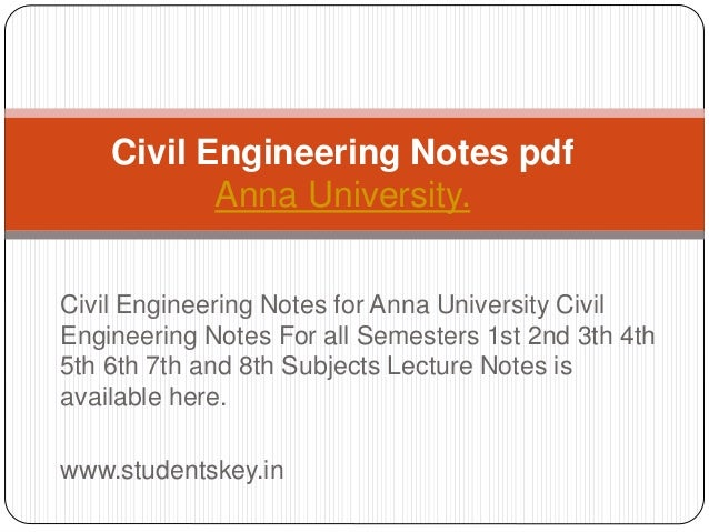 Civil engineering lecture notes pdf
