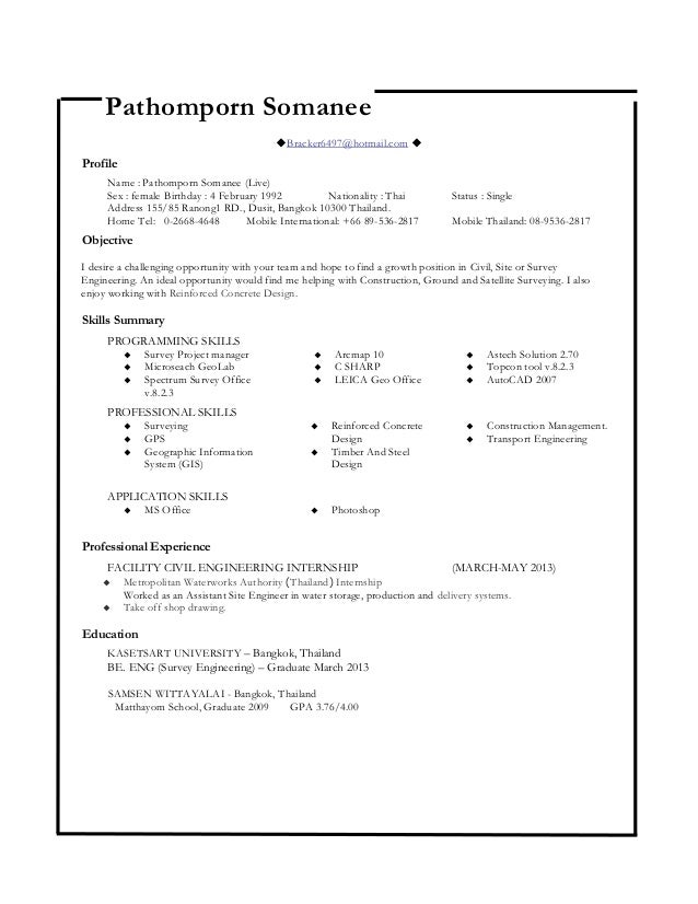 civil engineer resume pathomporn somanee live pathomporn somanee bracker6497hotmailcom profile name pathomporn somanee