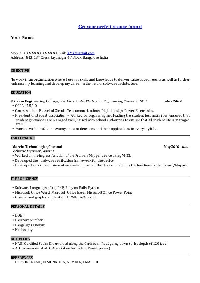 ATRACTIVE RESUME FORMAT FOR A B TECH  EEE FRESHER   Resume Formats Pinterest