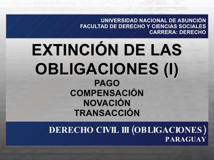 UNIVERSIDAD NACIONAL DE ASUNCIÓN FACULTAD DE DERECHO Y CIENCIAS SOCIALES CARRERA: DERECHO PAGO COMPENSACIÓN NOVACIÓN TRANS...