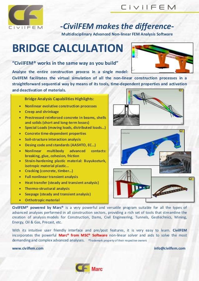 "-CivilFEM makes the difference- Multidisciplinary Advanced Non-linear FEM Analysis Software BRIDGE CALCULATION ""CivilFEM® ..."