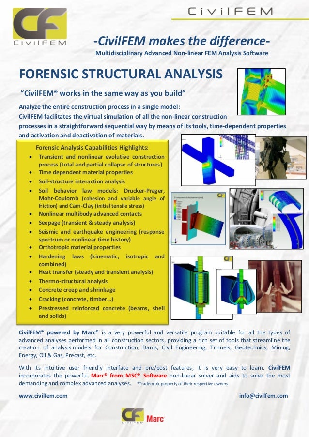 """-CivilFEM makes the difference- Multidisciplinary Advanced Non-linear FEM Analysis Software FORENSIC STRUCTURAL ANALYSIS """"..."""