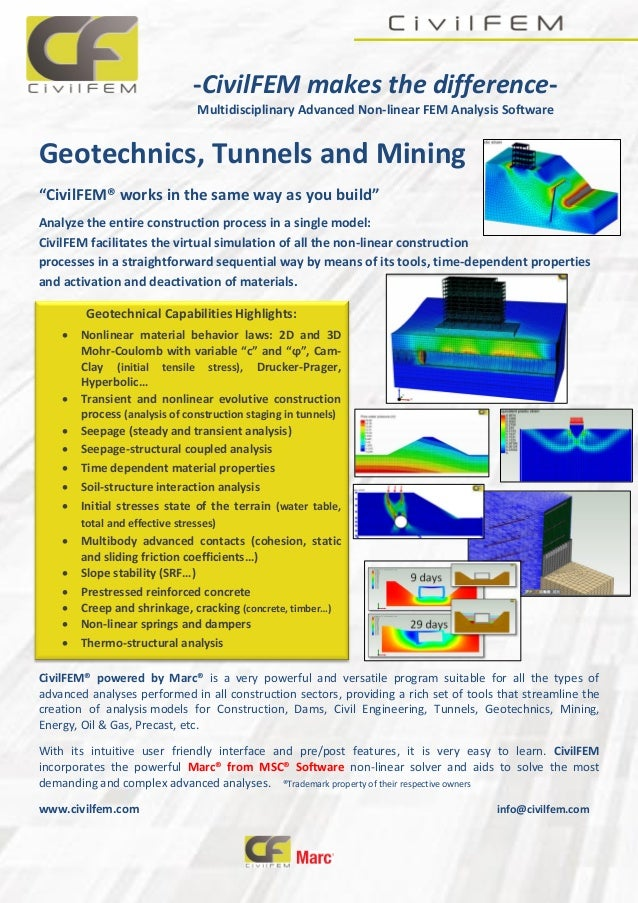 -CivilFEM makes the difference- Multidisciplinary Advanced Non-linear FEM Analysis Software Geotechnics, Tunnels and Minin...