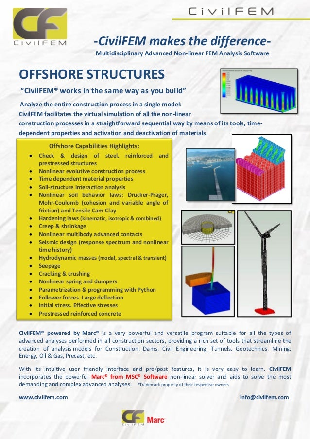 """-CivilFEM makes the difference- Multidisciplinary Advanced Non-linear FEM Analysis Software OFFSHORE STRUCTURES """"CivilFEM®..."""