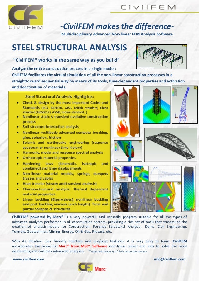 """-CivilFEM makes the difference- Multidisciplinary Advanced Non-linear FEM Analysis Software STEEL STRUCTURAL ANALYSIS """"Civ..."""