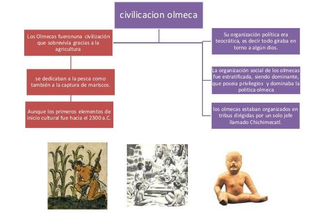Los Olmecas fueronuna civilización que sobrevivía gracias a la agricultura Su organización política era teocrática, es dec...