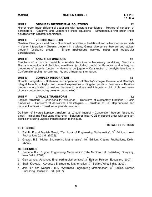 Engineering Mathematics 2 Syllabus Regulation 2008