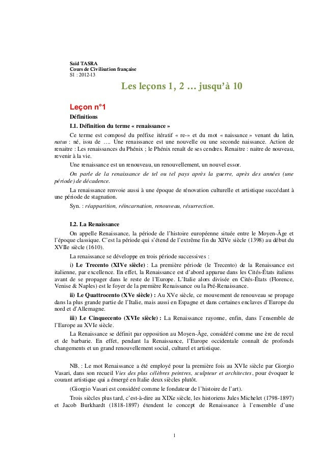 Saïd TASRA      Cours de Civilisation française      S1 : 2012-13                             Les leçons 1, 2 … jusqu'à 10...