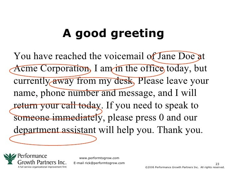 Voicemail greetings example.