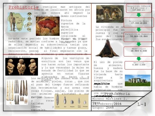 L-1 Prehistoria Moreno Martínez I. Omar24/Febrero/2016 Grupo: 2AM5 PrehistoriaLos vestigios mas antiguos del hombre se loc...