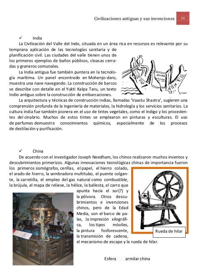 Civilizaciones antiguas y sus invenciones      14             India     La Civilización del Valle del Indo, situada en un...