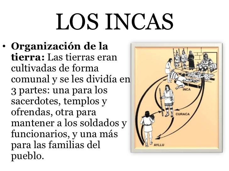 LOS INCAS• Organización de la  tierra: Las tierras eran  cultivadas de forma  comunal y se les dividía en  3 partes: una p...