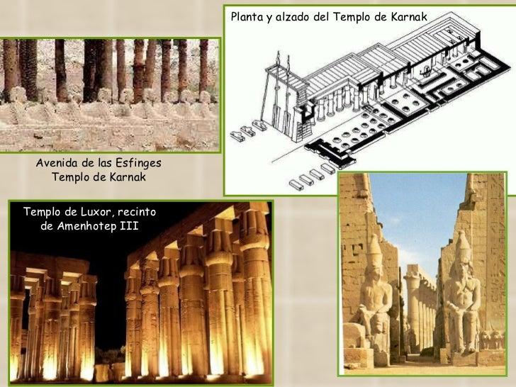 Planta y alzado del Templo de Karnak Avenida de las Esfinges Templo de Karnak Templo de Luxor, recinto de Amenhotep III