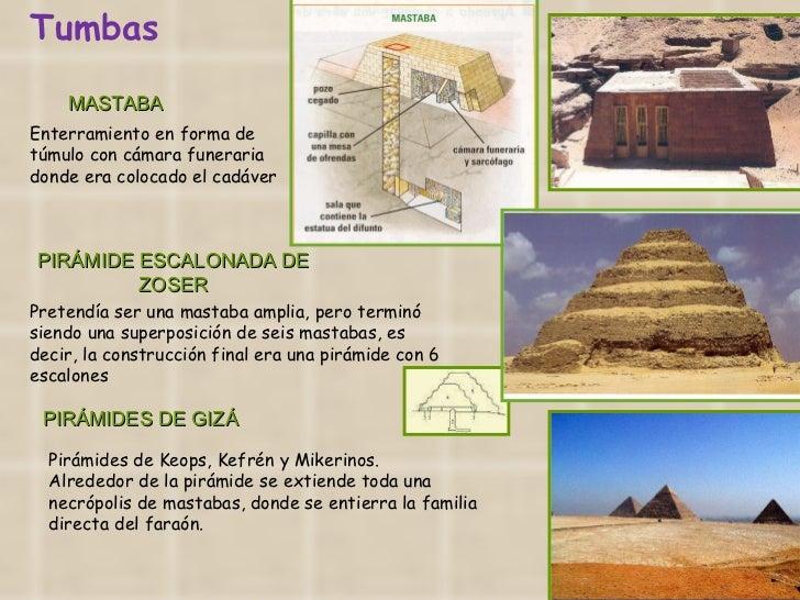 MASTABA Enterramiento en forma de túmulo con cámara funeraria donde era colocado el cadáver  PIRÁMIDE ESCALONADA DE ZOSER ...