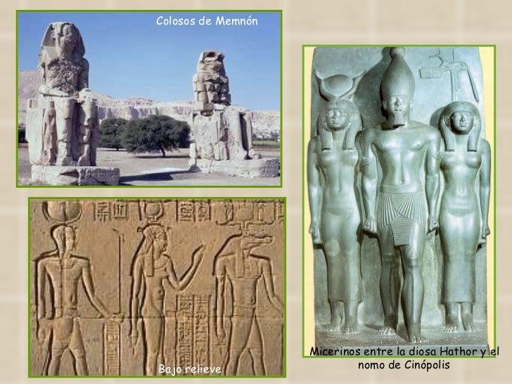 Bajo relieve Colosos de Memnón Micerinos entre la diosa Hathor y el nomo de Cinópolis
