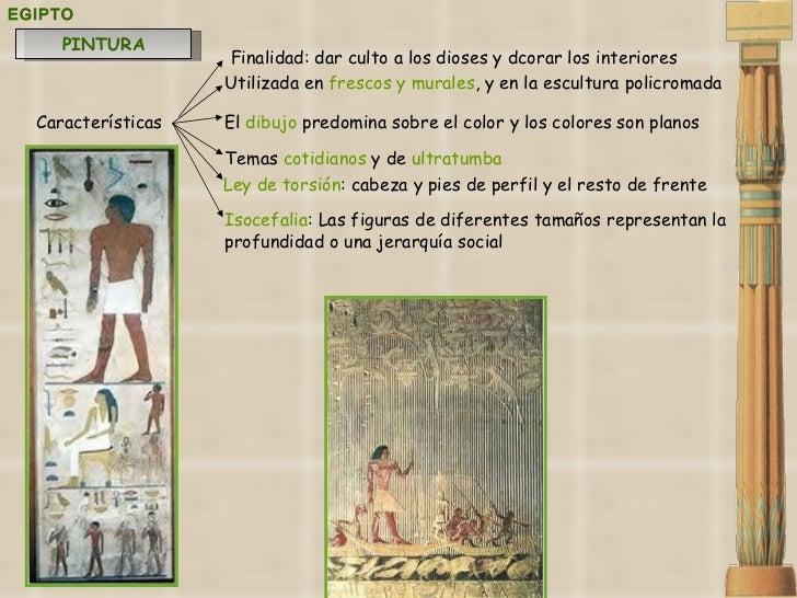 EGIPTO Utilizada en  frescos y murales , y en la escultura policromada   Características El  dibujo  predomina sobre el co...