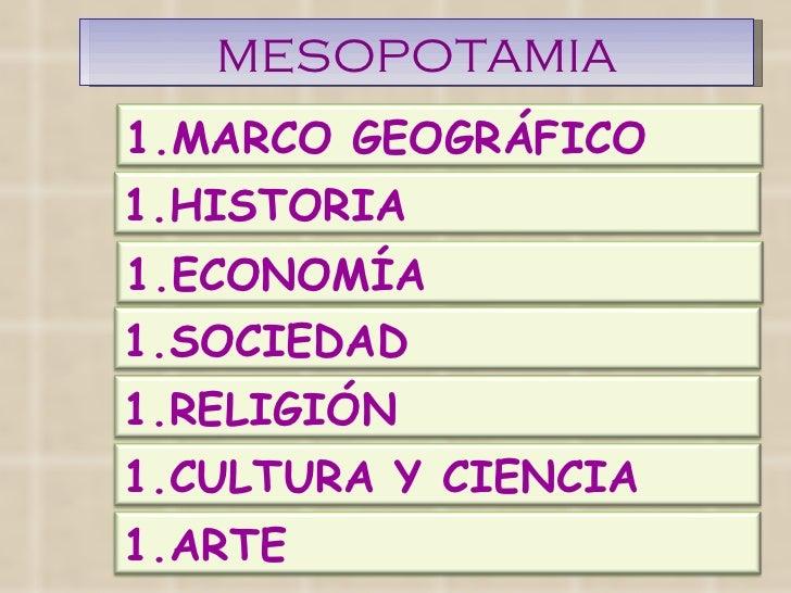 MESOPOTAMIA <ul><li>MARCO GEOGRÁFICO </li></ul><ul><li>HISTORIA </li></ul><ul><li>ECONOMÍA </li></ul><ul><li>SOCIEDAD </li...