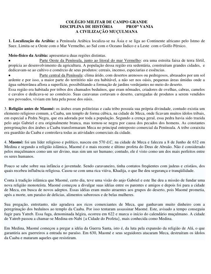 COLÉGIO MILITAR DE CAMPO GRANDE                                DISCIPLINA DE HISTÓRIA    PROFª VANIA                      ...