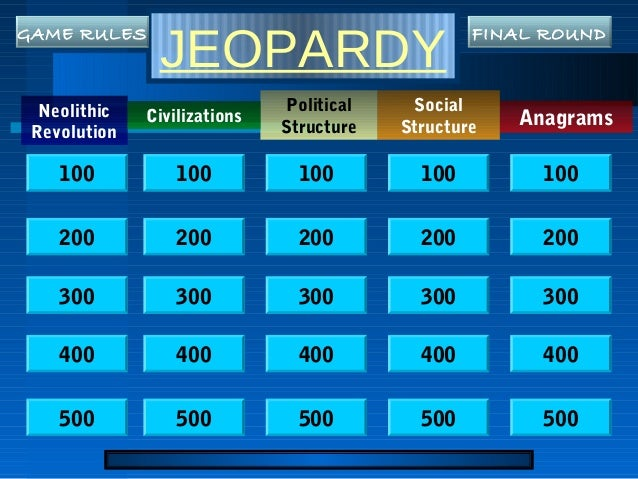 JEOPARDY Neolithic Revolution Anagrams Political Structure Social Structure Civilizations 100 200 300 400 500 100 100 100 ...