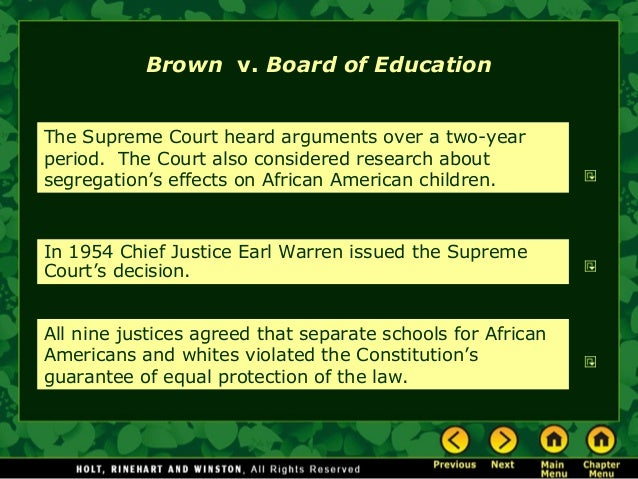 an analysis of the supreme court decision on brown v board of education of topeka case Brown v board of education of topeka i, may 17, 1954 segregation of white and   chief justice warren delivered the opinion of the court these cases  come to us from the states of kansas, south carolina, virginia, and delaware   such considerations apply with added force to children in grade and high  schools.