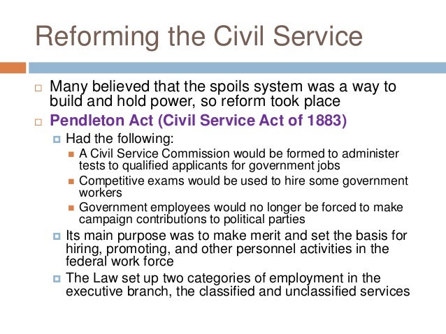 Civil Service Act : Civil service and independent agencies