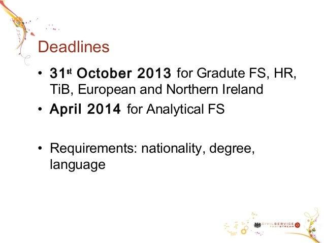 civil service fast stream application dates
