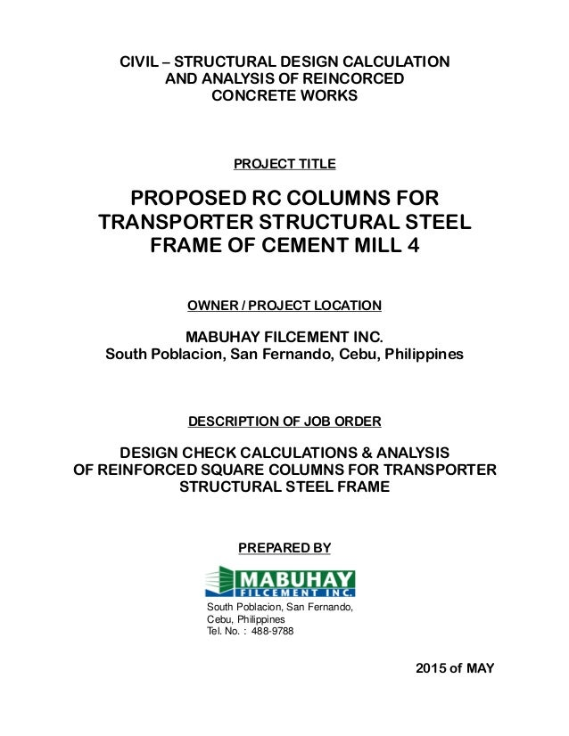 Structural Design Calculations of Cement Mill 4
