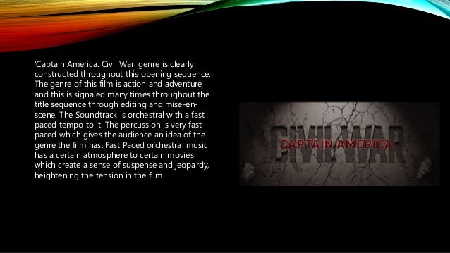 'Captain America: Civil War' genre is clearly constructed throughout this opening sequence. The genre of this film is acti...
