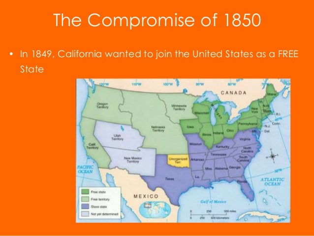 the components of the compromise of 1850 Compromise of 1850 date: taylor was against this compromise, but he soon died, and former vice president millard fillmore gladly signed the compromise measures compromise of 1850 benefited north: admitted california as a free state.